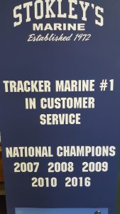 banner with each year stokley's marine has won the national award for customer satisfaction from the Tracker family of boats