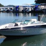 crownline 21 ss runabout boat at dock in marina